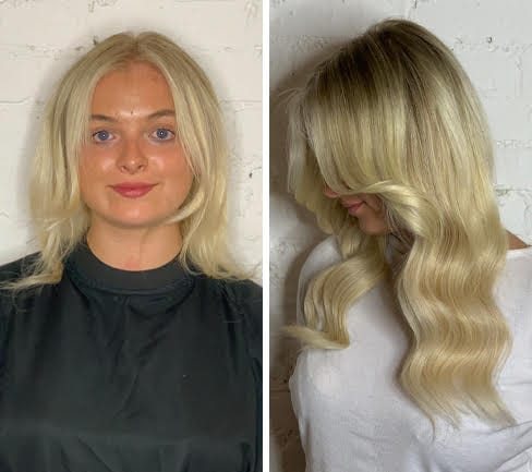 blonde-hair-extensions-short-hair-before-after